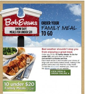 Great example of compelling email marketing copywriting inside Bob Evans' email newsletter